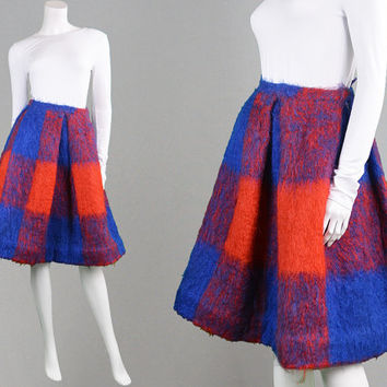 Vintage 50s Mohair Skirt Blue & Red Plaid Skirt Winter Skirt A Line Skirt Checked Skirt 1950s Skirt Pleat Skirt Womens XS X Small Skirt