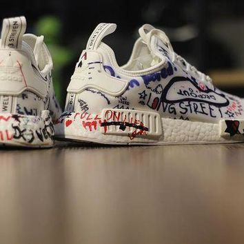 PEAPNT Vetements x Adidas NMD Boost  Custom Graffitia BA7527 Men Women Running Sneaker