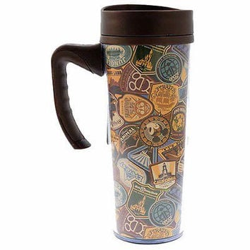 disney walt disney parks icons collage travel tumbler cup mug new