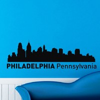 Philadelphia Pennsylvania Skyline City Silhouette Wall Vinyl Decal Sticker Home Decor Art Mural Z488
