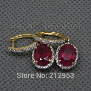 14KT Yellow Gold Vintage Oval 6x8mm Natural Red Ruby & Diamond Earrings
