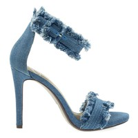 Reverse Lt Blue Denim By Delicious, High Heel Sandal In Jean & Destroyed Frayed Trimming