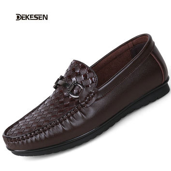 Dekesen New Brand Genuine Leather Men Shoes Black Driving Shoes For Men Casual Shoes Male Man Flats Slip on Shoes sperry 1252