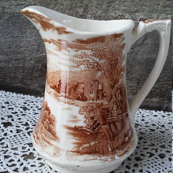 "Alfred Meakin Brown Transferware Pitcher Marked ""Tintern"" -  Farm Scene- Brown Transferware"