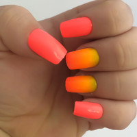 Ombre Fake Nails, Bright Nail Polish, Pink Nail Polish, False Nails, Glue On Nails, Press On Nails, Nail Decals, Acrylic Nails, Nail Art