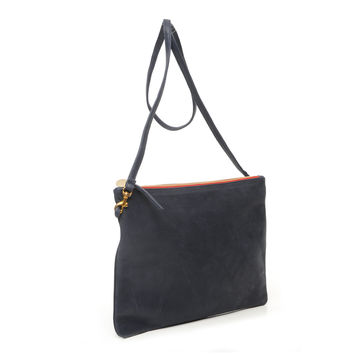 Navy Nubuck Sac Bretelle by Clare V.