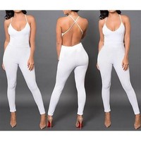White Spaghetti Strap Backless Cross Back High Waisted Club Long Jumpsuit