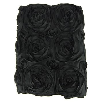 Satin Rosette Table Runner with Serged Edge, Black, 14-Inch x 108-Inch