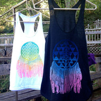 FLOWER of LIFE Dream Catcher Racerback Tank in WHITE