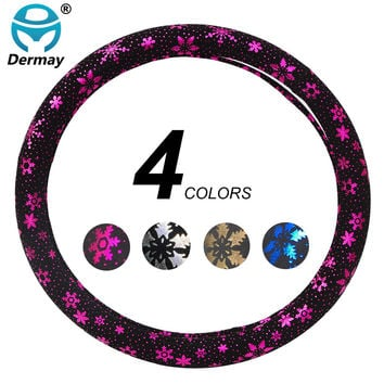 DERMAY 4Colors New Special Custom Personalized Cute Car Steering Wheel Cover 38cm With Flowers Car Accessories For Girls Women
