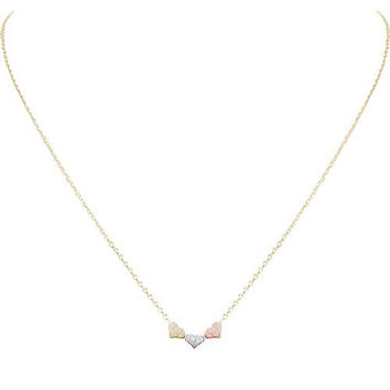 Humble Chic Women's Tiny Heart Trio Necklace - Multicolor - Delicate Dainty Triple Pendant Necklace