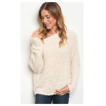 Adorable Off Shoulder Silky Soft Cream Fur Sweater