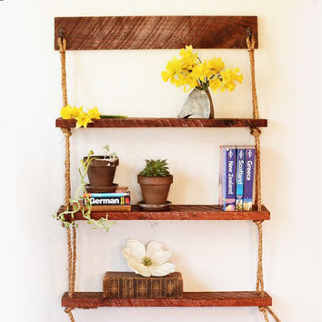 Hanging Rope Shelves - Walnut or Cedar - Rough cut rustic shelving