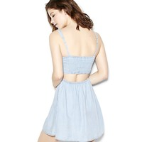 Denim Fit & Flare Dress with Open Back