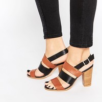 Warehouse Leather Color Block Heeled Sandals
