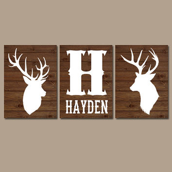 DEER Wall Art, Canvas or Prints, Baby Boy Name Rustic Country Nursery Pictures, Big Boy Bedroom, Antlers Decor, Brown Faux Wood Set of 3