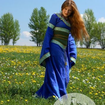 Medieval Blue Dress and Corset Belt Mistress Of The by armstreet