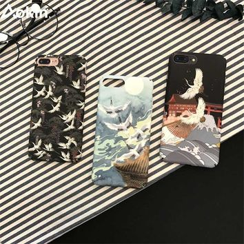 Aokin Fashion Cartoon Japanese Style Red-crowned Crane Cases For iphone 6 6s 7 8 Plus Case Hard PC Matte Back Cover Capa Coque