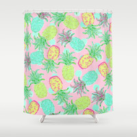 Pineapple Pandemonium Tropical Spring Shower Curtain by Lisa Argyropoulos | Society6