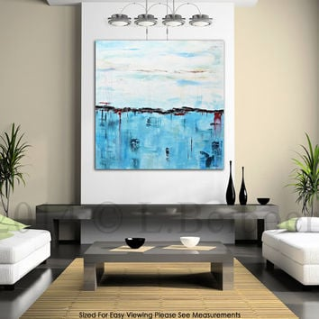 Abstract original painting large 36 x 36 blue square abstract oil painting modern art contemporary schilderij by L.Beiboer