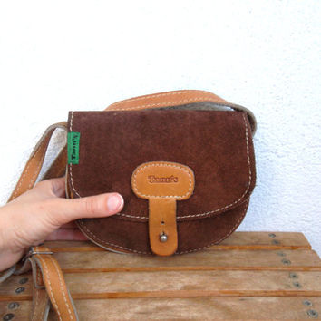 Tann's Leather Bag, Suede Leather Purse, Chocolate Brown Bag, Small Messenger, Distressed Satchel, 90s Boho Pouch, Western Saddle Purse