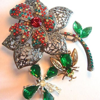 Green Red Rhinestone Brooch-Pin Lot, 3 Pieces, Flowers & Bug, Vintage