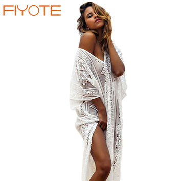 FIYOTE New Sexy Summer Lace Hollow-out Beach Kaftan with Splits Bathing Suit Cover Ups Robe De Plage LC42191 Female Swimwear