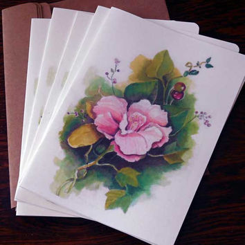 Watercolor Foral Cards Packet of 6 Blank 5 X 7 Note Cards,  Great for a Thank You or Hostess gift. Kraft paper envelopes.