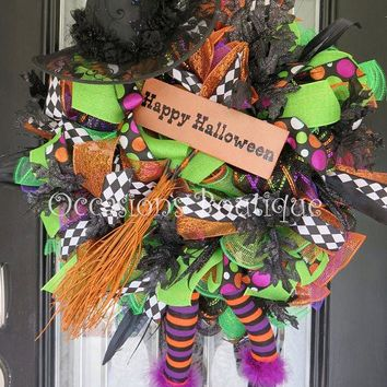 Wicked Witch Halloween Wreath, Halloween Decoration, Door Hanger