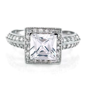 Sterling Silver Halo CZ Engagement Ring Princess Cut size  4-11