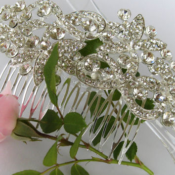 """Crystal Bridal Hair Comb """"Queen's Statement"""", Wedding Hair Pieces, Rhinestone Combs, Wedding Hair Accessories, Bridal Headpieces, Jewelry"""