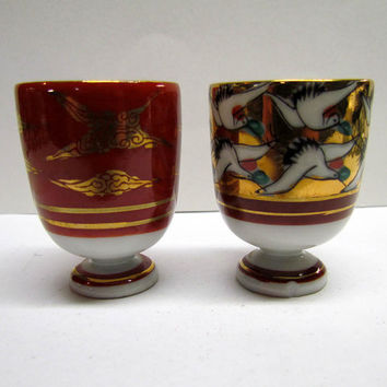 Vintage Pair of Collectable Small Porcelain Cups / Goblets, made in Japan