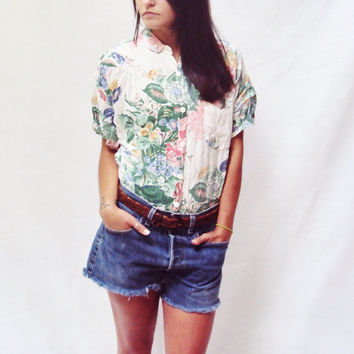 Cotton PASTEL Floral Top BOXY cropped vintage 80s ( s, m, small, medium )