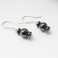 Hematited Sterling Silver Dangle - Silver And Hematited Earrings Jewelry For Everyday Use Jewelry