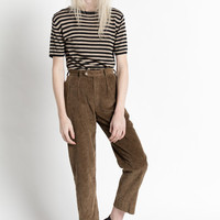 Vintage 80s Brown Thick Corduroy Pleated Cropped Trousers | XS