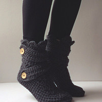 Women's Crochet Dark Gray Slipper Boots, Crochet Slippers, Crochet Booties, Crochet House Shoes, Crochet Winter Boot, Dark Grey Slipper Boot
