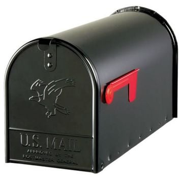Gibraltar E1600B00 Elite Post Mount Mailbox with Steel Latch, Black, Large