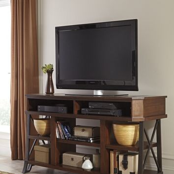 Vinasville collection casual style brown rustic finish wood tv stand