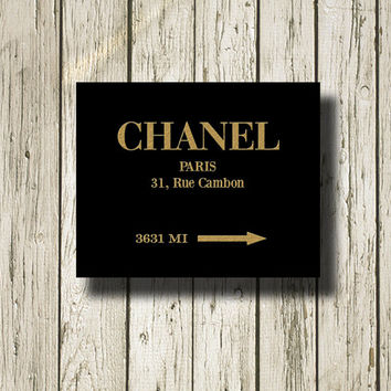 CHANEL Paris Gold Black Print Printable Instant Download Wall Art Home Decor GC112black