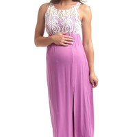 Orchid Lace Top Maternity Maxi Dress