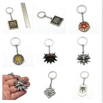 Mixed The Witcher 3 Keychain Wolf Head Metal Pendant Medallion Wild Key Chain Ring The Wild Hunt Figure Men Jewelry Chaveiro HC