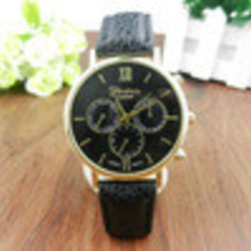 Unisex PU Leather Band Casual s Analog Quartz Luxury Vogue Dress Wrist Watch For Women Men INY66