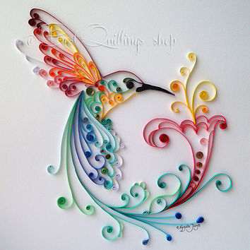 "Quilling Art: ""Bird of Happiness"" Colourful Paper Art, Wall Art and Deco"