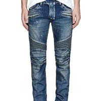 BLUE DISTRESSED PAINTED BIKER JEANS