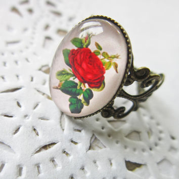 Red Rose Cameo Ring - Filigree Cabochon