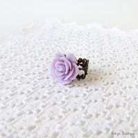 Lilac Rose Cabochon Ring - Antique Brass Filigree Adjustable Ring