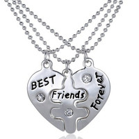 Set of 3 BFF Best Friends Puzzle Necklaces