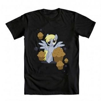 My Little Pony Derpy Muffins and Bubbles Adult Black T-shirt