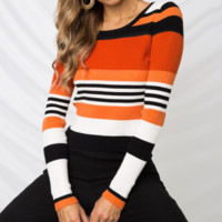 New Wooden Ears Round Collar Striped Slim Sweater Women's Hot Sale