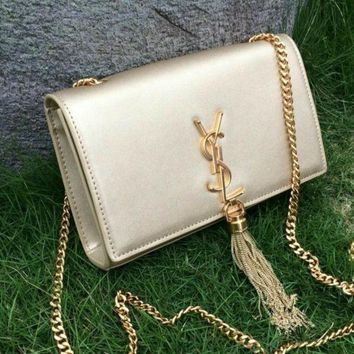 DCCKUN6 HOT WOMEN YSL TASSEL CHAIN SHOULDER BAG CLUTCH BAG